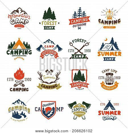 Camping logo badges and travel template hand drawn emblems vector illustration. Mountain camp outdoor club