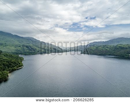 Aerial view of the bonnie banks of Loch Lomond in Scotland