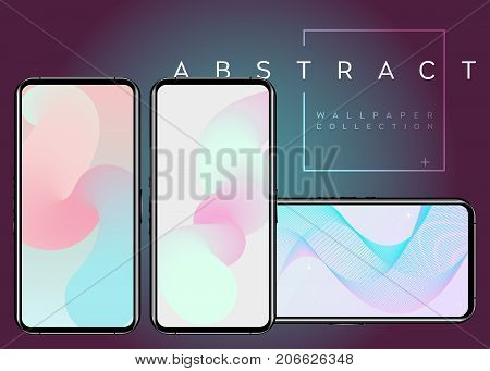 Phone X Abstract Fluid Vector Wallpapers. Pastel Colors on Device Screen. Modern Digital Background Design. Geometric Minimal Multicolor Pattern. Paint Splash with Swirls. Creative Futuristic Theme.