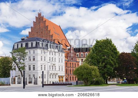 City panorama of Wroclaw and the Church of St. Stanislaus, Dorothy and Vaclav.