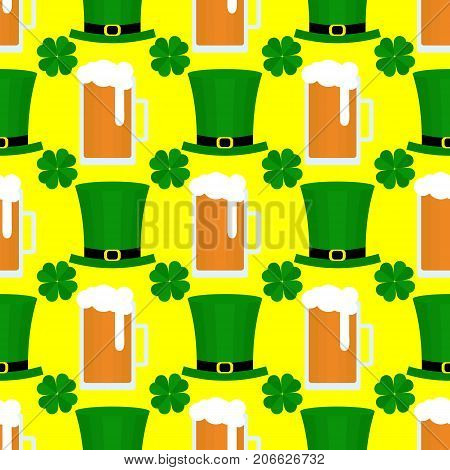 Seamless pattern with green hat, beer and clover for St. Patricks Day. St. Patrics Day background for cards, invitations.