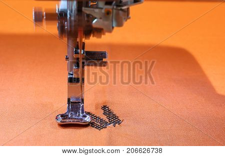 Movement Of The Sewing Machine With A Steel Needle And The Embro