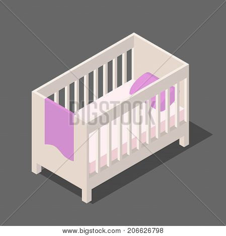 Cot.white wooden children's bed with mattress pillow and blanket in isometric view, a rectangular bed for babies in 3D flat style vector illustration isolated on white background