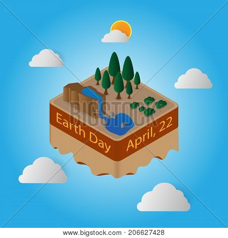 World Earth Day 22 April Floating Island
