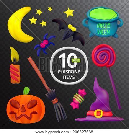 Handmade Vector Plasticine Set For Halloween