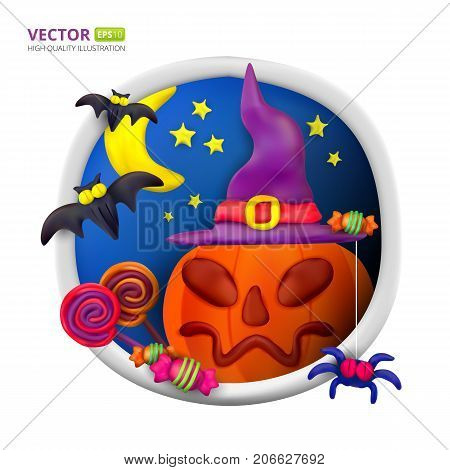 Handmade vector Plasticine round greeting card for Halloween. Vector illustration of moon bat pumpkin spider candy hat and lollipop isolated on white background