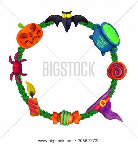 Handmade Vector Plasticine Round Frame For Halloween