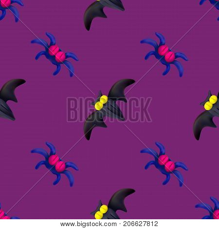 Handmade vector plasticine seamless pattern for Halloween isolated on pink background. Can be used for printing on textile pattern fills textures or gift wrap