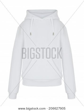 Front view of isolated white sweatshirt  hoody on white background