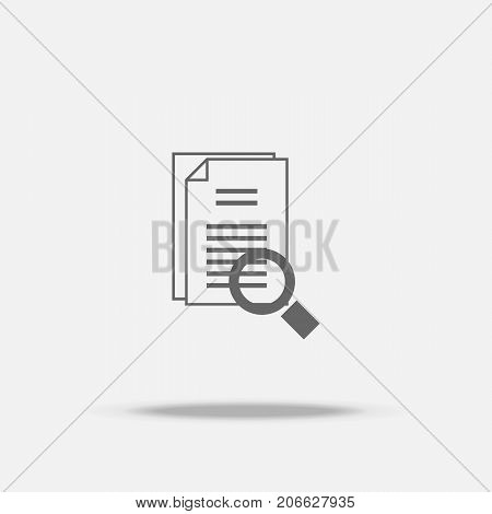 Identify searching Flat design vector icon with shadow poster
