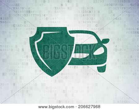 Insurance concept: Painted green Car And Shield icon on Digital Data Paper background