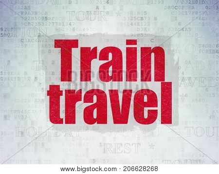 Tourism concept: Painted red text Train Travel on Digital Data Paper background with   Tag Cloud