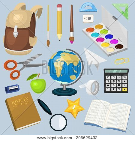 School supplies stationary educational backpack equipment vector illustration. Globe, pencil, school bag, calculator