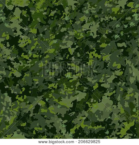invisible seamless pattern .Camouflage seamless, endless background. Hunting and military background. Woodland. The colors of the shades are green. Abstract, leafy pattern. Vector illustration.