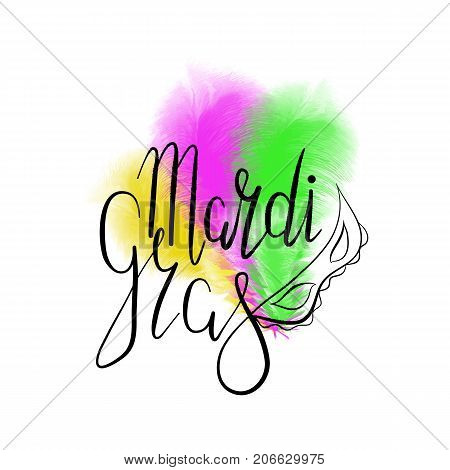 Lettering Mardi Gras with carnival mask, green, yellow and purple ostrich feathers. Vector. Carnival.