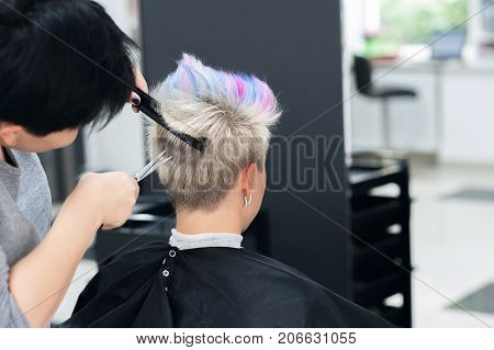 Women's Haircut. Hairdresser, Beauty Salon. Professional Hairdresser Making Stylish Haircut. Hairdre