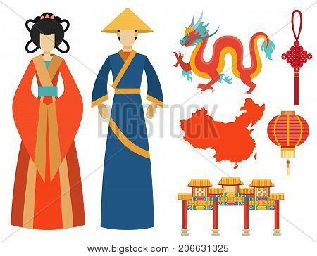 China icons set decorative holiday. Chinese traditional symbols and objects. Dragon east tea ancient famous oriental culture vector illustration.