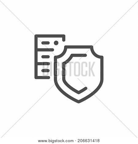 Hosting security line icon isolated on white. Vector illustration