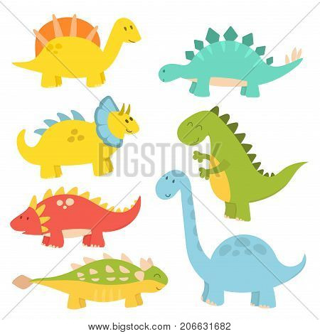 Dinosaur cartoon vector illustration. Cartoon dinosaurs cute monster funny animal and prehistoric character. Cartoon comic tyrannosaurus fantasy beast.