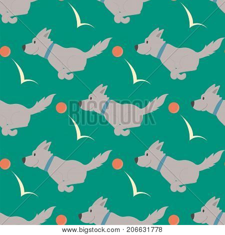 Vector illustration cute dogs characters seamless pattern funny purebred puppy comic background smile happy mammal breed drawing icon. Pedigree terrier canine adorable animal.