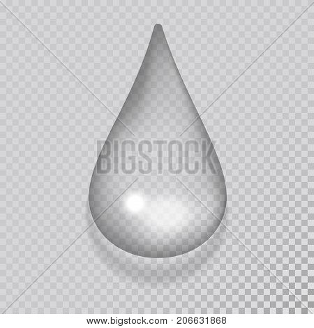 Realistic pure and transparent water drop splash liquid moisture with shadow. Vector illustration wet light abstract macro fresh raindrop bubble. Refreshing art environment.