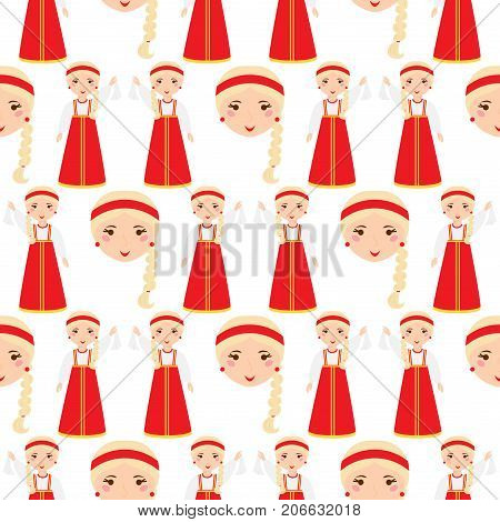 Beautiful woman in Russian traditional headscarf russian nation costume girl seamless pattern background vector illustration. Village style tradition ethnicity lady.