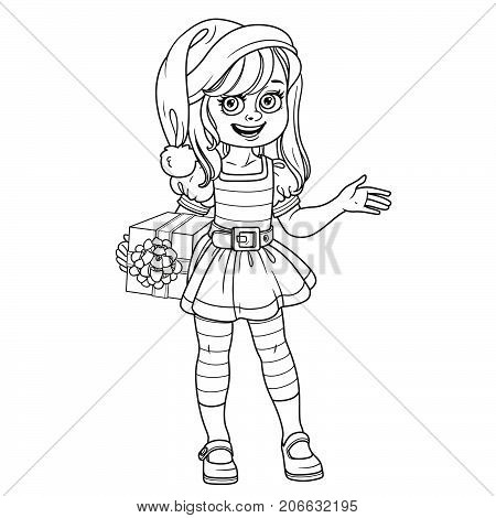 Cute Girl In Elf Santa's Assistant Costume Outlined For Coloring Page