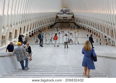 New York City, Usa, September 12, 2017 : World Trade Center Transportation Hub. The New Path Station