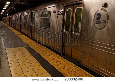 New York City, Usa, September 13, 2017 : A Train Of The New York Subway. Opened In 1904, The New Yor