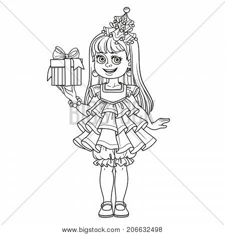 Cute Girl In New Year Tree Dress With A Gift In Hand  Outlined For Coloring Page