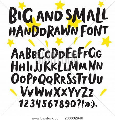 Hand drawn brush ink vector ABC big and small letters set. Doodle decorative font for your design.