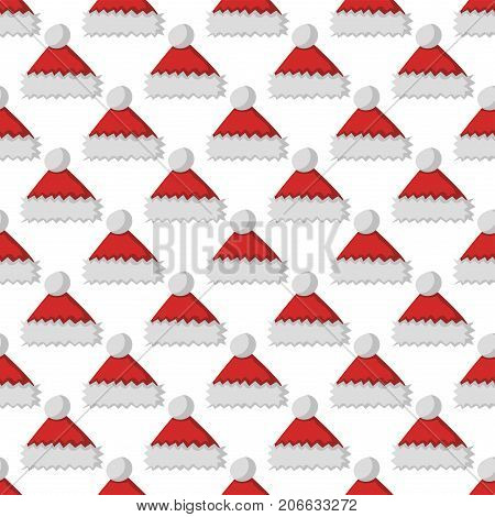 Santa claus fashion red hat modern seamless pattern cap winter xmas holiday textile accessories top classic clothes vector illustration. Personal design style headdress clothing.