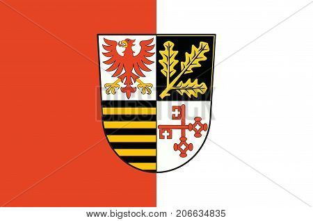 Flag of Potsdam-Mittelmark is a district in the western part of Brandenburg Germany. Vector illustration poster