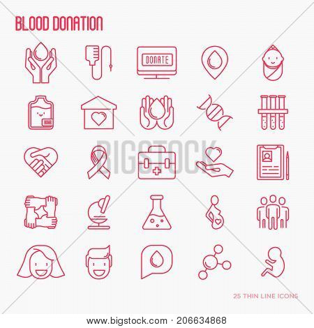 Blood donation thin line icons set. World blood donor day. Vector illustration.