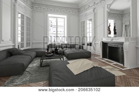 Luxury apartment living room interior with classical wall moldings, mirror, fireplace and upholstered grey furniture lit by bright windows. 3d Rendering