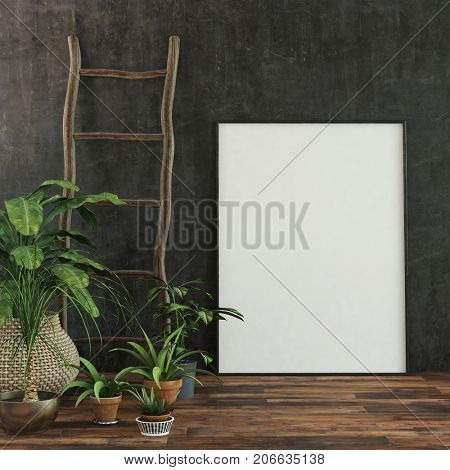 Large blank white picture frame or canvas standing on the wooden floor against a black wall with a rustic ladder decoration and potted plants to the side in a low angle view. 3d Rendering