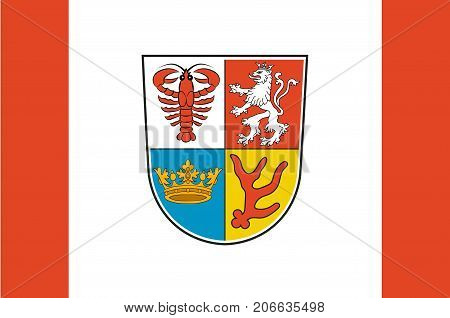 Flag of Spree-Neisse is a district in the southern part of Brandenburg Germany. Vector illustration