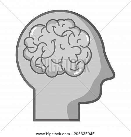grayscale silhouette man with anatomy brain design vector illustration