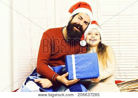 Santa Man With Blonde Girl