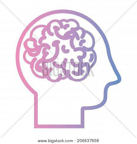 line man with anatomy brain design vector illustration
