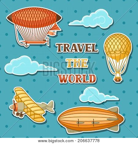 Set of retro air transport. Vintage aerostat airship, blimp and plain in cloudy sky.