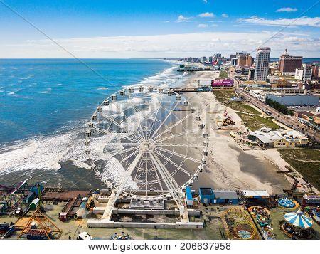 Atlantic City, Usa - September 20, 2017: Atlantic City Waterline Aerial View