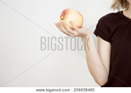 delicious apple girl eating an apple with apple photo