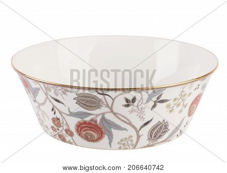 Beautiful dish isolated on white background, clipping, with floral patterns, blue, gold, animals, flowers