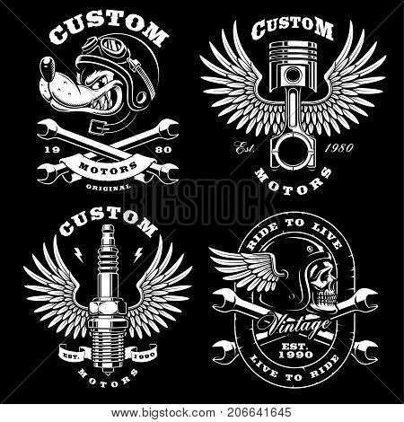 Set of 4 vintage motorcycle illustrations logos badges prints. Vintage style. (VERSION FOR DARK BACKGROUND) All elements and text are the on separate leyer.