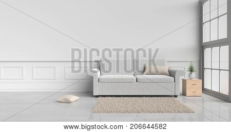 White room decorated with cream sofa,tree in glass vase, cream pillows, Wood bedside table, Window, Cream carpet White cement wall it is pattern, white cement floor. 3d rendering.
