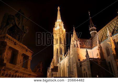 Matthias church and Saint Istvan statue in Budapest Hungary poster