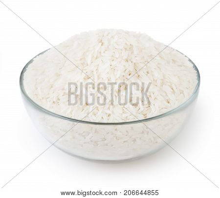 Uncooked white long-grain jasmine rice isolated on white background with clipping path