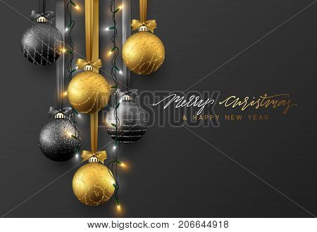 Christmas greeting card, design of xmas ball with realistic garlands on dark background.