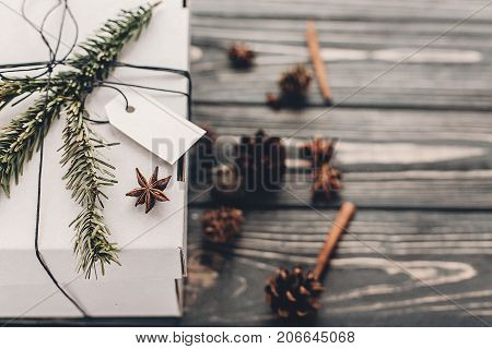Christmas Present. Stylish White Christmas Gift With Empty Tag And Anise Tree Branches Pine Cones On